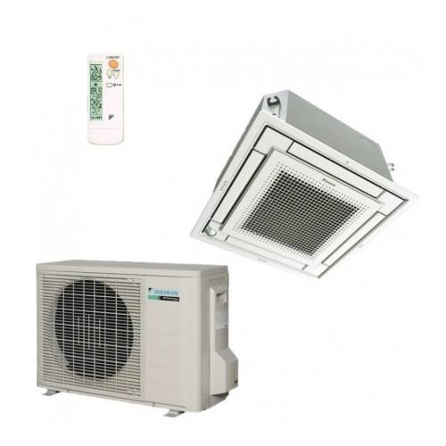 Climatiseur rèversible inverter cassette 4 voies extraplate Daikin FFQ25C + RXS25L 2.5 kW