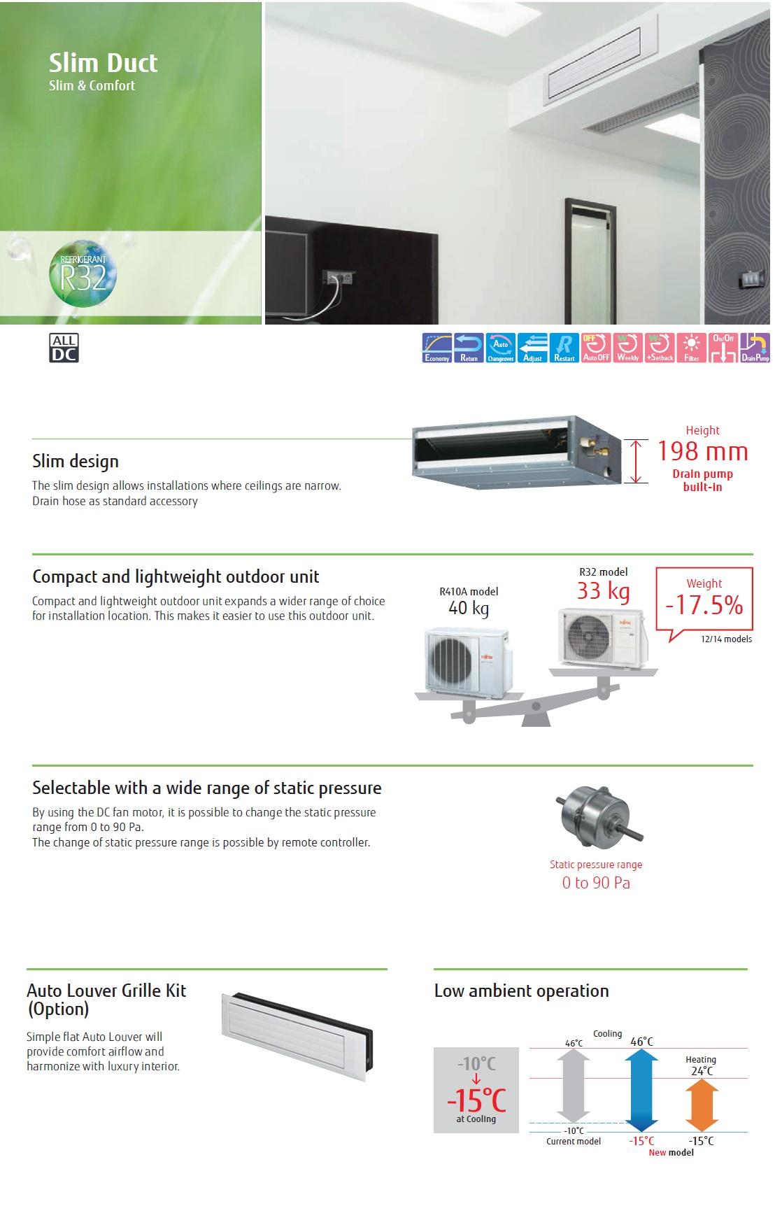 Gewerbeklimaanlagen Fujitsu 12000 Btu ARXG12KLLAP+ AOYG12KBTB