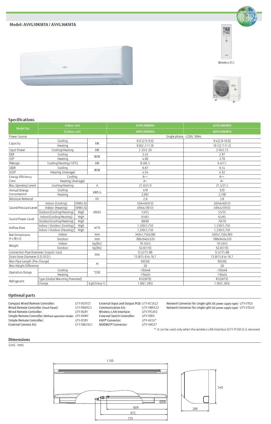 Gewerbeklimaanlagen Fujitsu Mono Split 36000 Btu ASYG36KMTA AOYG36KMTA