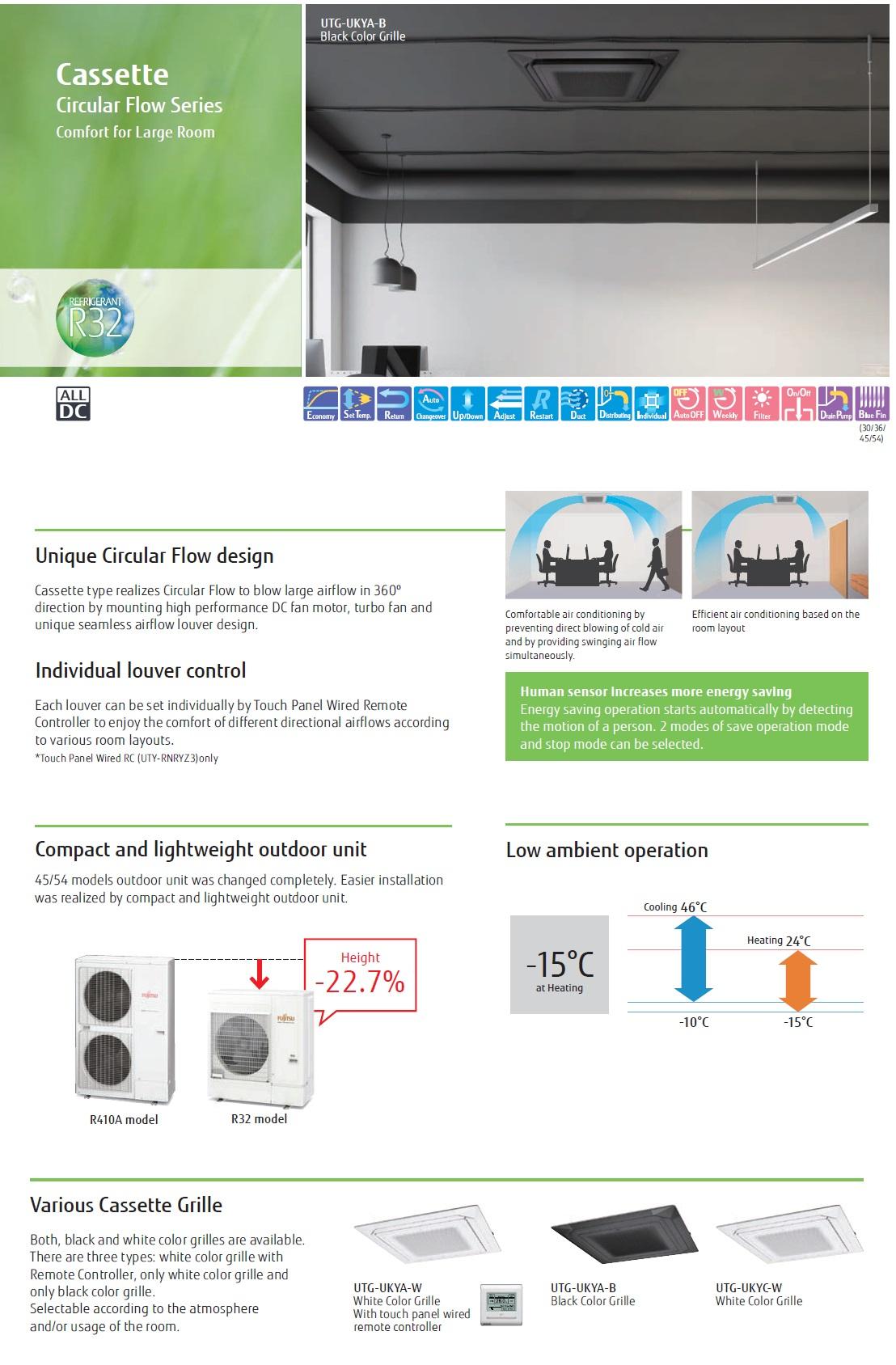 Gewerbeklimaanlagen Fujitsu 45000 Btu Kassettengerät KR Weiß R-32 220v
