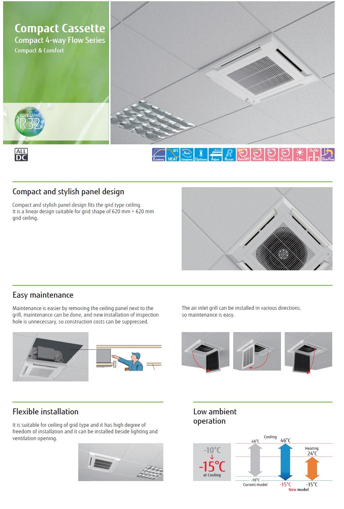 Gewerbeklimaanlagen Fujitsu  15000 Btu Kassettengerät Kompakt KV