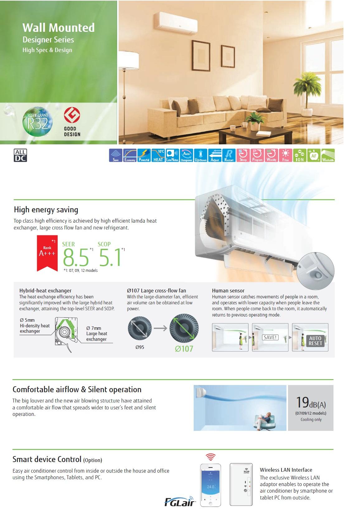 Klimageräte Fujitsu Mono Split 15000 Btu ASYG14KGTB AOYG14KGCA