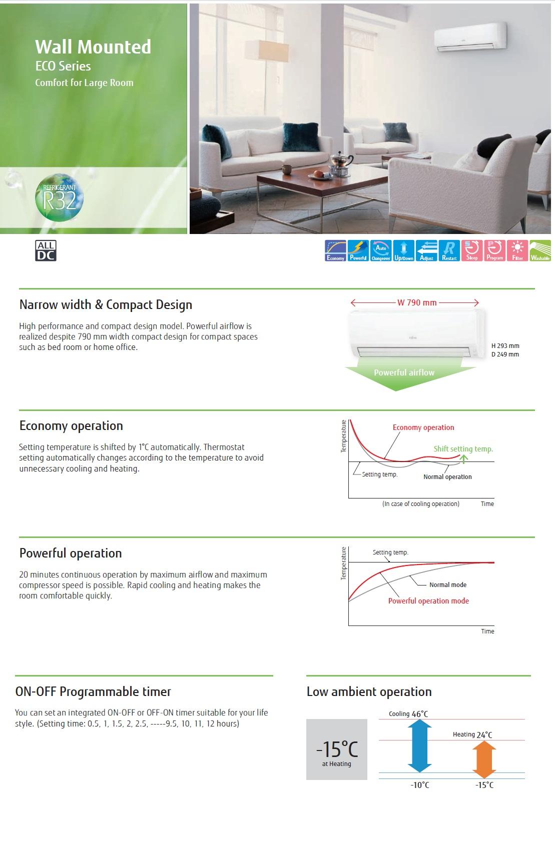 Klimageräte Fujitsu Mono Split 18000 Btu ASYG18KLCA AOYG18KLCA