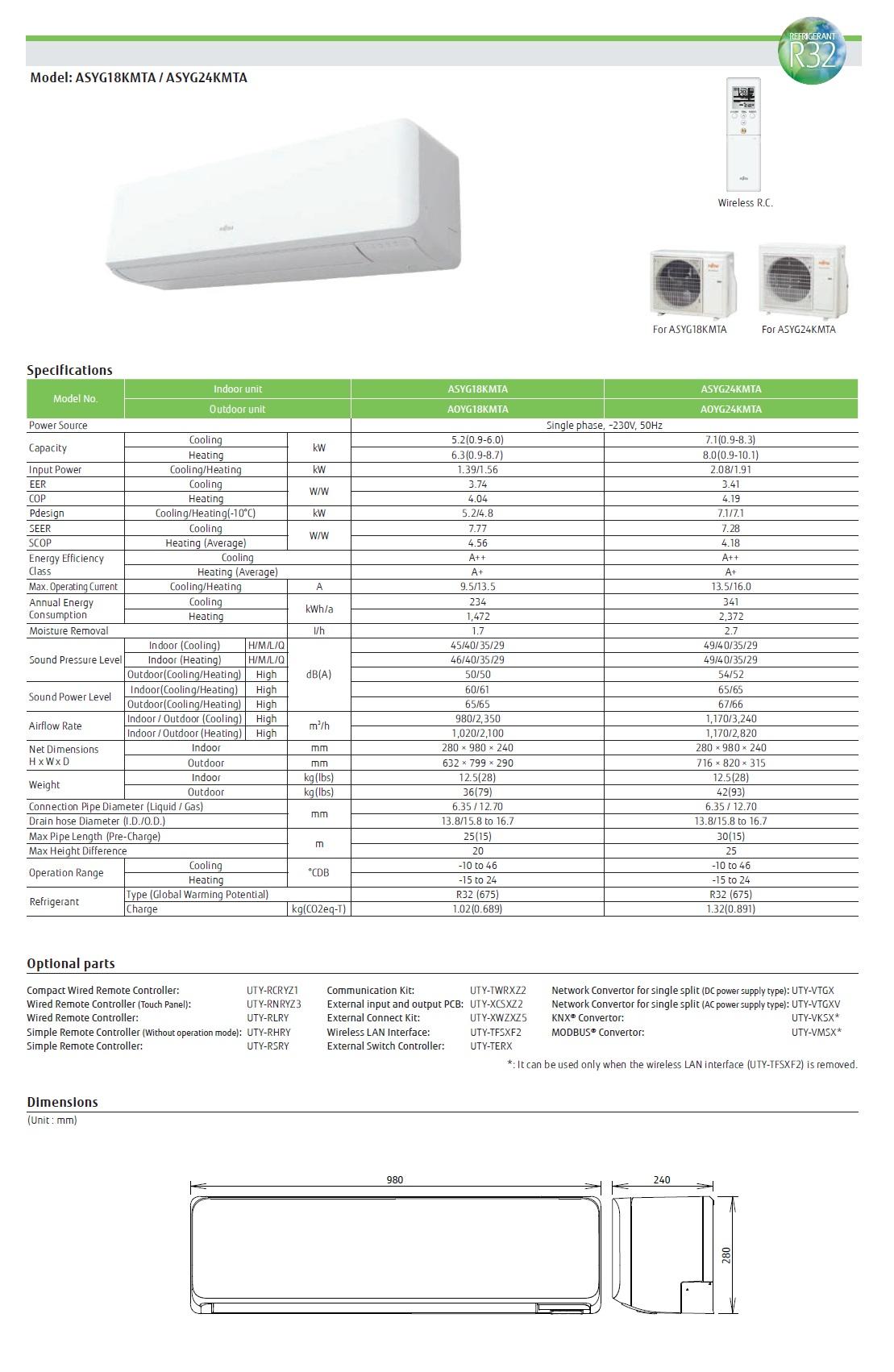 Klimageräte Fujitsu Mono Split 24000 Btu ASYG24KMTA AOYG24KMTA