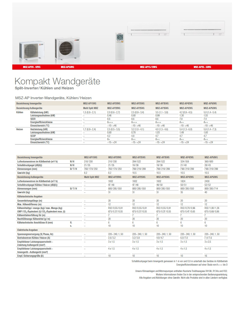 Klimageräte Mitsubishi Mono Split 12000 Plus Weiß A+++ A++