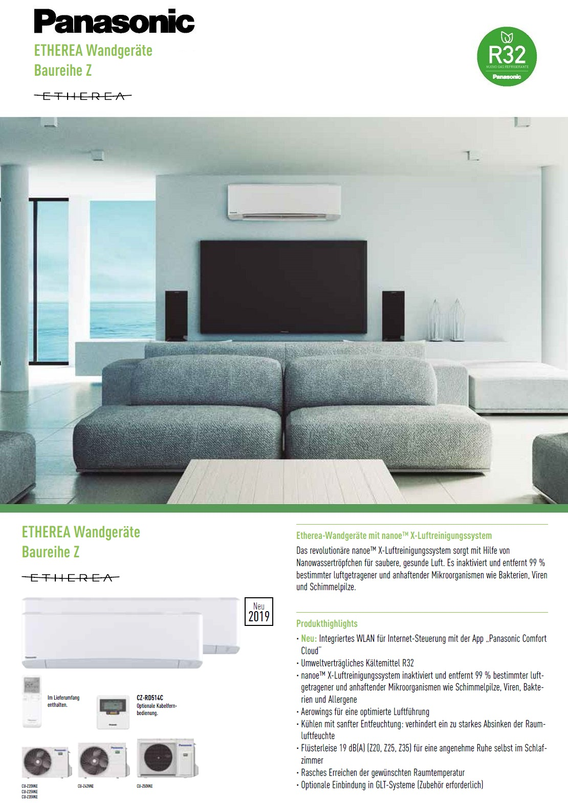 Klimageräte Panasonic Mono Split 7000 Btu XZ Etherea Wand