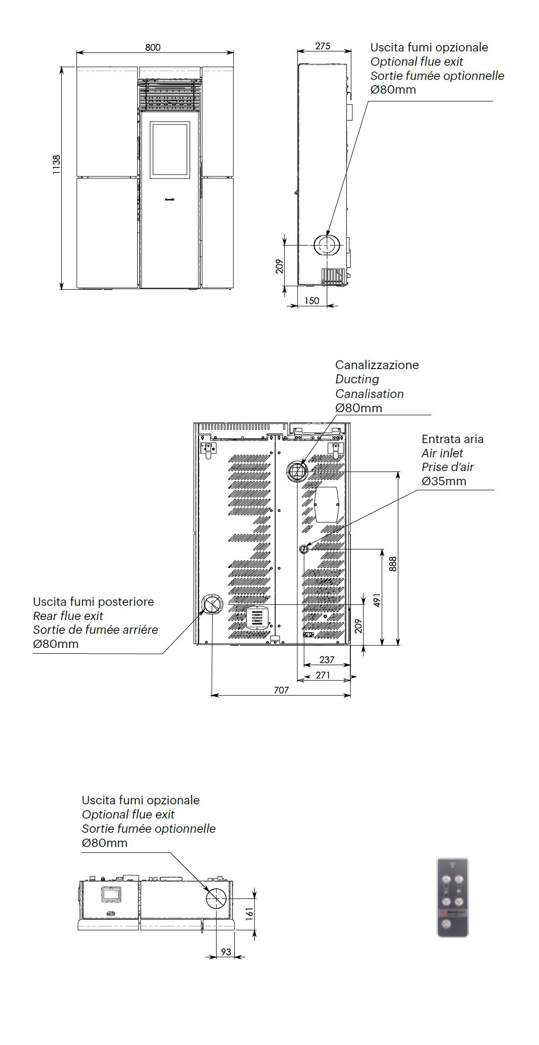 Pelletofen Ravelli 8.4 kW OLIVIA STEEL metal Perlweiss